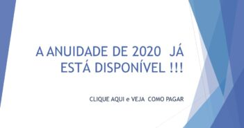 ANUIDADE 2020 JÁ ESTÁ DISPONÍVEL